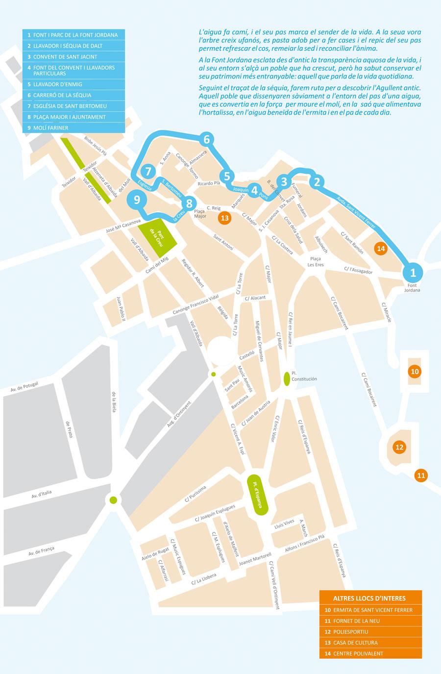plano de la ruta por el patrimonio de Agullent