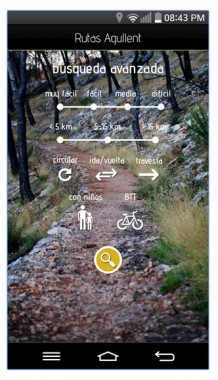 pantalla búsqueda APP de rutas por Agullent