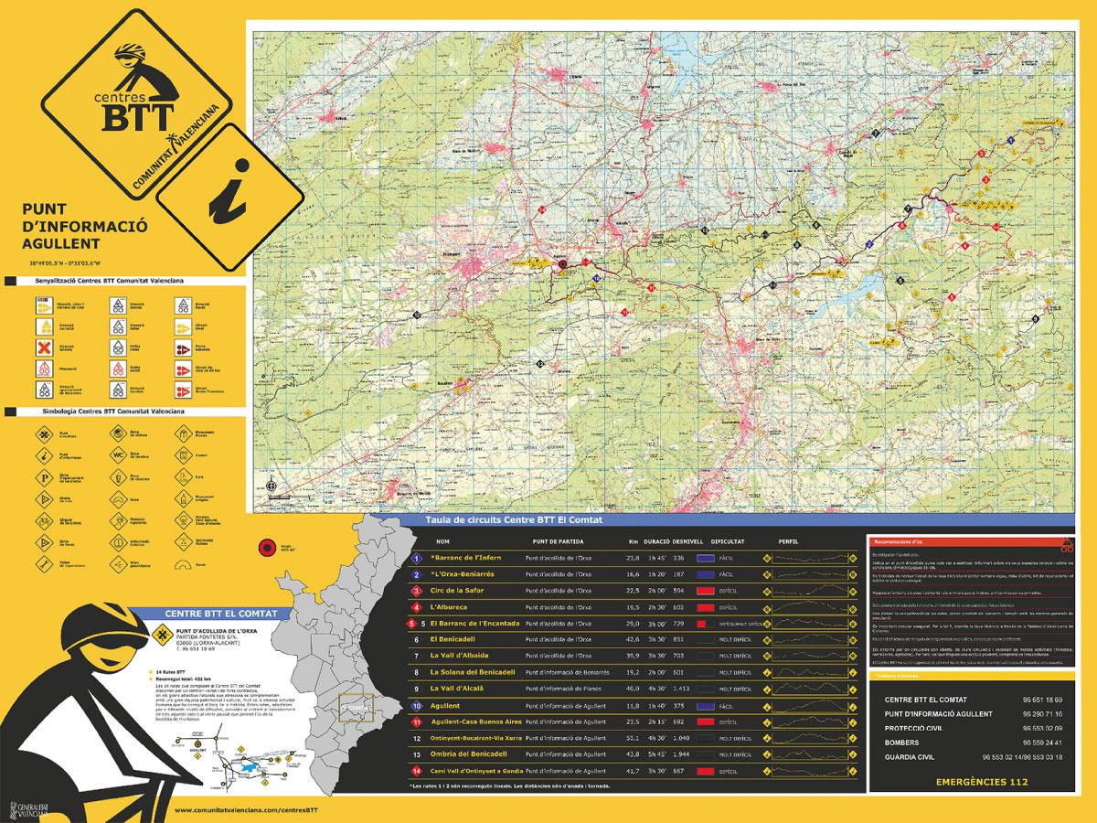 Mapa de rutas BTT Agullent